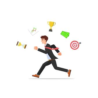 Empresario corriendo hacia adelante concepto