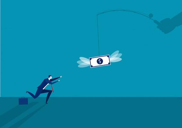 Empresario corriendo atrapar un dólar colocado en un gancho, ilustración de ingresos activos.