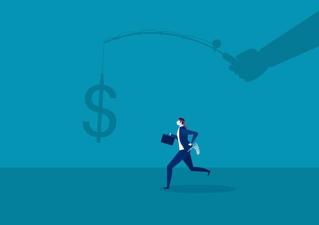 Empresario corriendo para atrapar un dólar colocado en un gancho