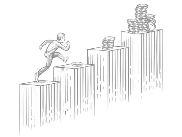 Empresario corriendo escaleras arriba con monedas - bosquejo de negocios y carrera profesional ilustración vectorial