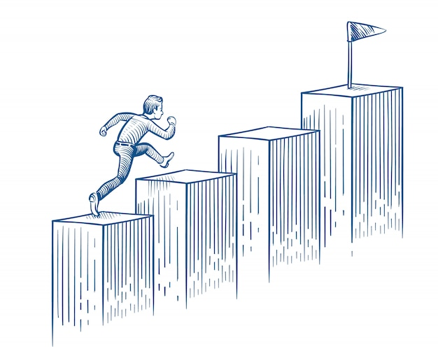 Empresario corriendo escaleras bosquejo