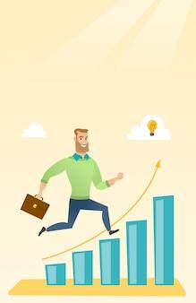 Empresario corriendo a lo largo del gráfico de crecimiento.