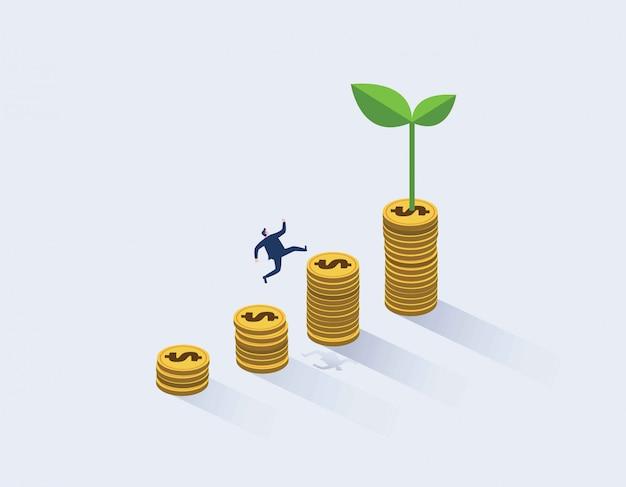 Empresario corriendo hacia la parte superior del gráfico de dinero.
