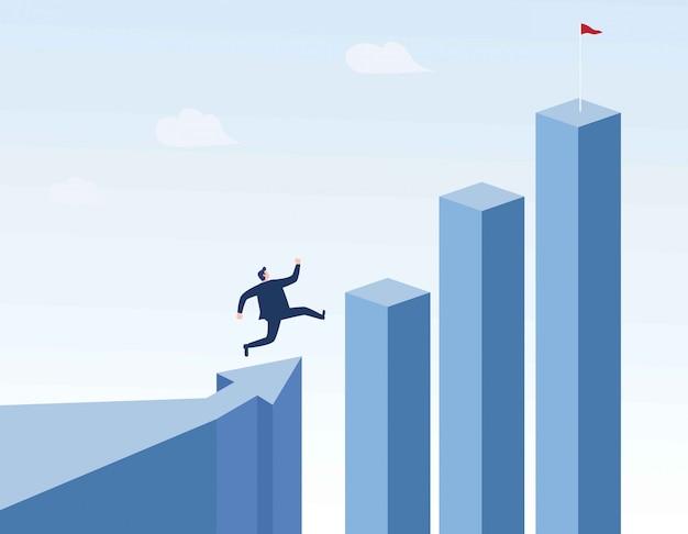 Empresario corriendo a la parte superior del gráfico.