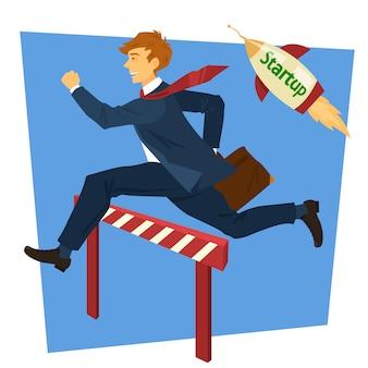 Empresario corriendo saltando por encima de la barrera. inicio de negocios. ilustración vectorial