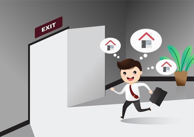 Empresario corriendo señal de puerta de salida que salga del trabajo.