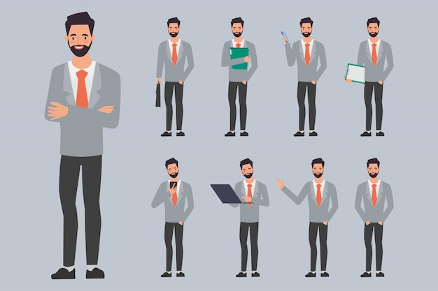 Empresario creación personaje pose con trabajo de oficina.