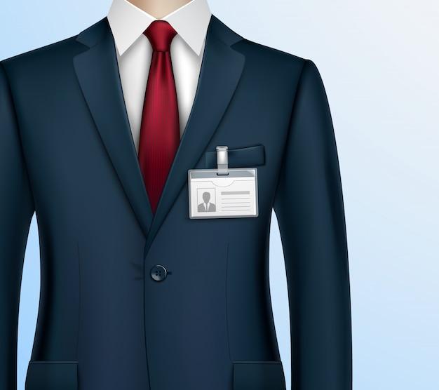 Empresario con credencial de identificación realista