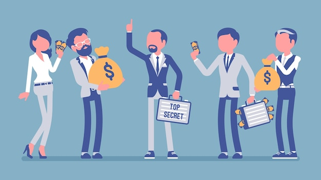 El empresario da intercambio de datos confidenciales protegidos por dinero