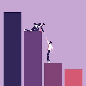 El empresario da una mano a un compañero de trabajo que representa el apoyo y ayuda a otros a subir