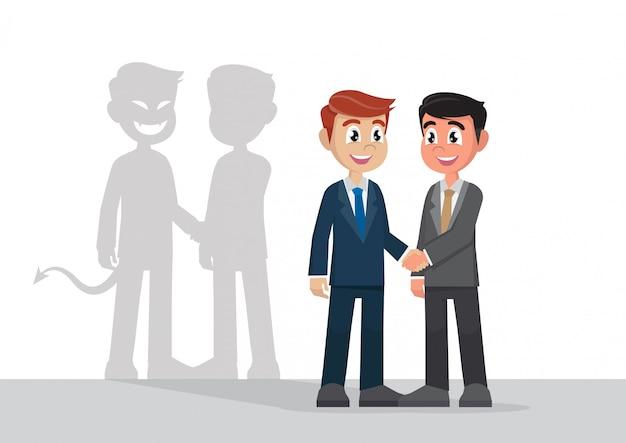 Empresario dándose la mano con sus colegas