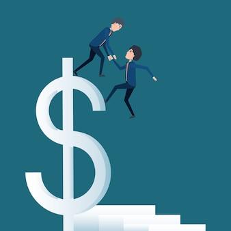 Empresario de dibujos animados ayudando a otro y gran símbolo de dinero