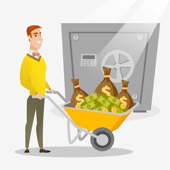 Empresario depositar dinero en el banco en la caja fuerte.