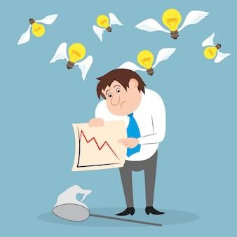 Empresario descontento con el comercio de acciones