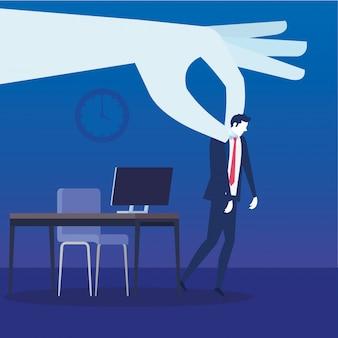 Empresario desempleado triste en la escena del lugar de trabajo