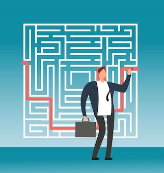 Empresario dibujando el camino correcto hacia el éxito en un complejo laberinto, laberinto. concepto de vector creativo solución simple
