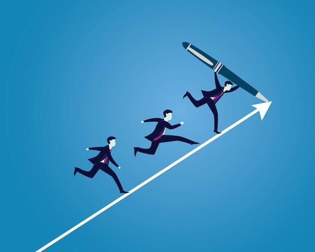 Empresario dibujo camino dirección de éxito