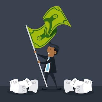 Empresario con dibujos animados de bandera de dinero