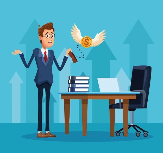 Empresario de dibujos animados con billetera vacía y escritorio de oficina con computadora portátil y libros