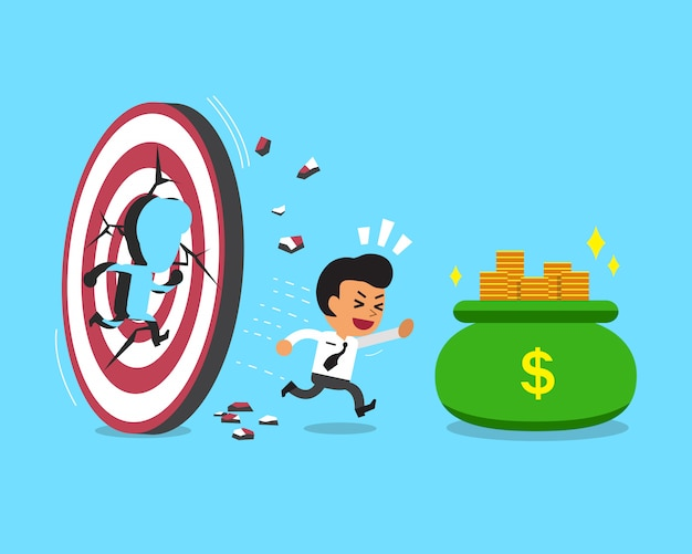 Empresario de dibujos animados con bolsa de destino y dinero