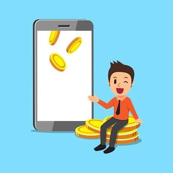 Empresario de dibujos animados de concepto de negocio con smartphone