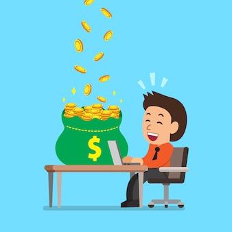 Empresario de dibujos animados ganando dinero