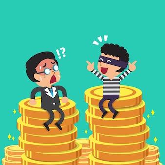 Empresario de dibujos animados y ladrón con pilas de monedas de dinero