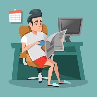 Empresario de dibujos animados leyendo el periódico con café en la oficina como en casa. receso laboral.