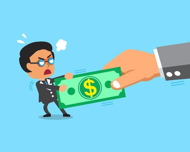 Empresario de dibujos animados y mano grande hacen esfuerzo supremo con dinero