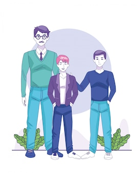 Empresario de dibujos animados con muchachos adolescentes en blanco