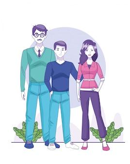 Empresario de dibujos animados y pareja de pie