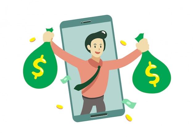 Empresario de dibujos animados y teléfono inteligente ganar dinero