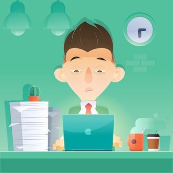 Empresario de dibujos animados trabajando horas extras en la noche en la oficina
