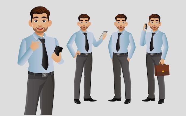 Empresario con diferentes poses.