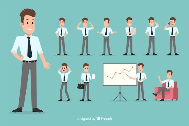 Empresario en diferentes situaciones
