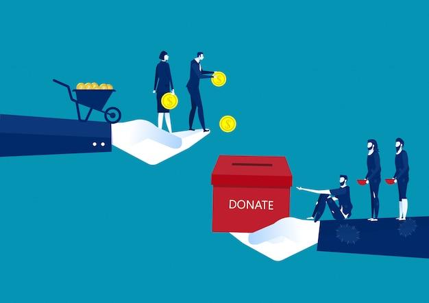 Empresario donar con cofre lleno de dinero dando una moneda al humilde mendigo o suplicante.