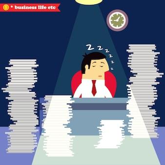 Empresario durmiendo en el escritorio