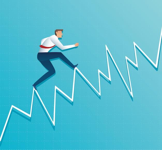 El empresario se ejecuta en el gráfico, corriendo hacia la parte superior de la flecha