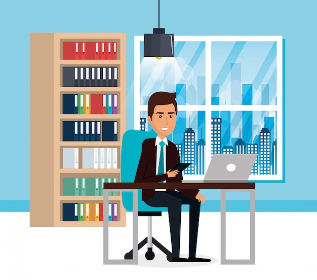 Empresario elegante en la escena de la oficina