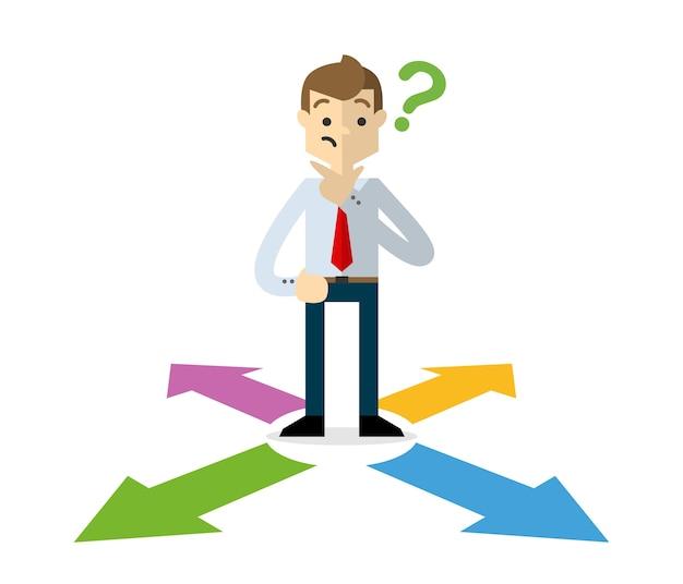 Empresario elegir una dirección correcta