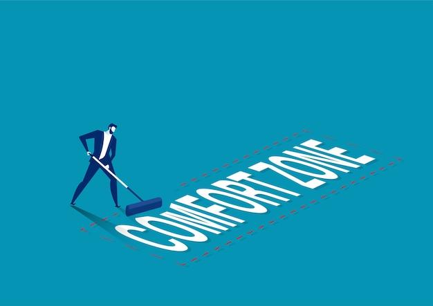 El empresario elimine la palabra zona de confort a la zona de salida con el concepto de línea roja roja