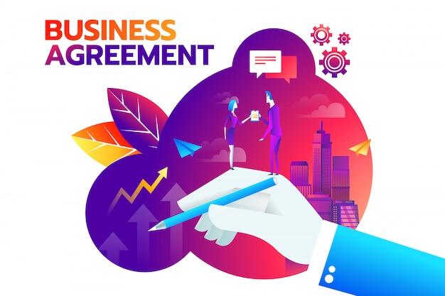 Empresario y empresaria dándose la mano y acepta firmar contrato.