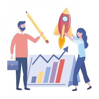 Empresario y empresaria diseño ilustración vectorial