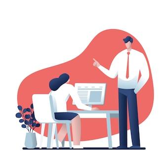 Empresario y empresaria hablando de trabajo en la oficina, diseño de personajes, negocios en línea