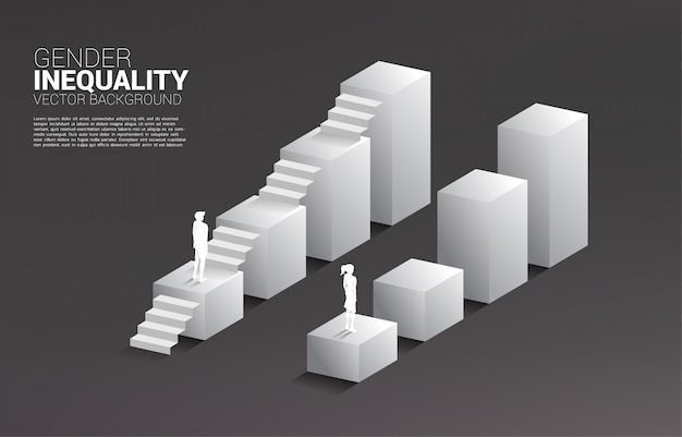 Empresario y empresaria se mueven en el gráfico de crecimiento y el único hombre con la escalera.