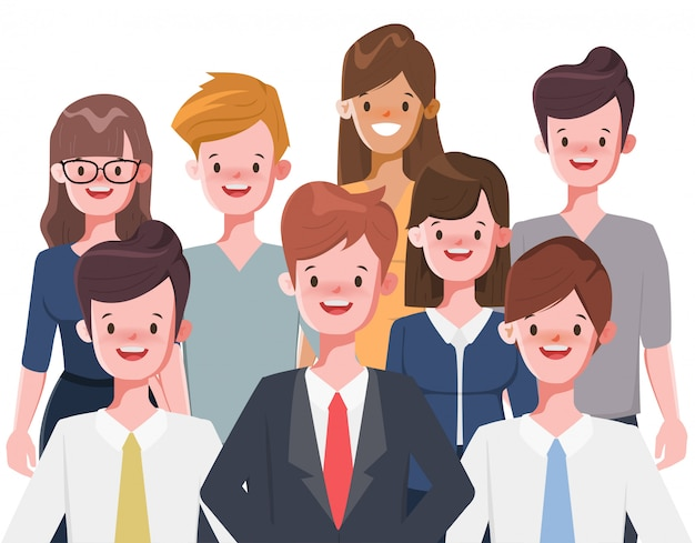 Empresario y empresaria personaje de dibujos animados en blanco