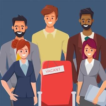 Empresario y empresaria personaje de dibujos animados. concepto de trabajo de contratación de trabajo en equipo. ilustración de vector plano