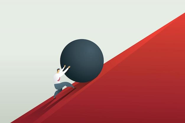 Empresario empujando boulder hasta la colina y el desafío del trabajo duro.