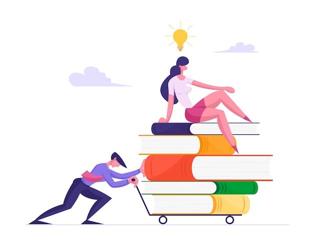 Empresario empujando carro pesado con montón de libros y empresaria sentada en la parte superior