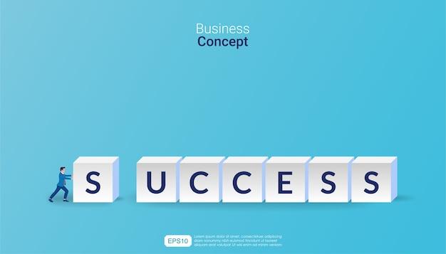 Empresario empujando dados de bloque con ilustración de éxito de texto.